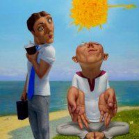 "Sun Right Perfect Balance, 2011, oil on linen48"" x 40""  a"