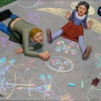 Chalk, (Side Walk Chalk Drawing), oil on linen, 38 x 44 inches, 2001.