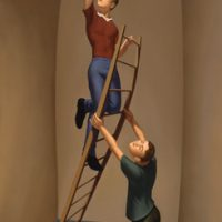 Friends (a ladder painting), 44x24 inches, oil on linen, 1996.