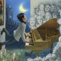 Serenading with the Greats, Oil on linen, Commissioned by Manuel Bernaschek of Showcase Pianos - Fazioli Vancouver.