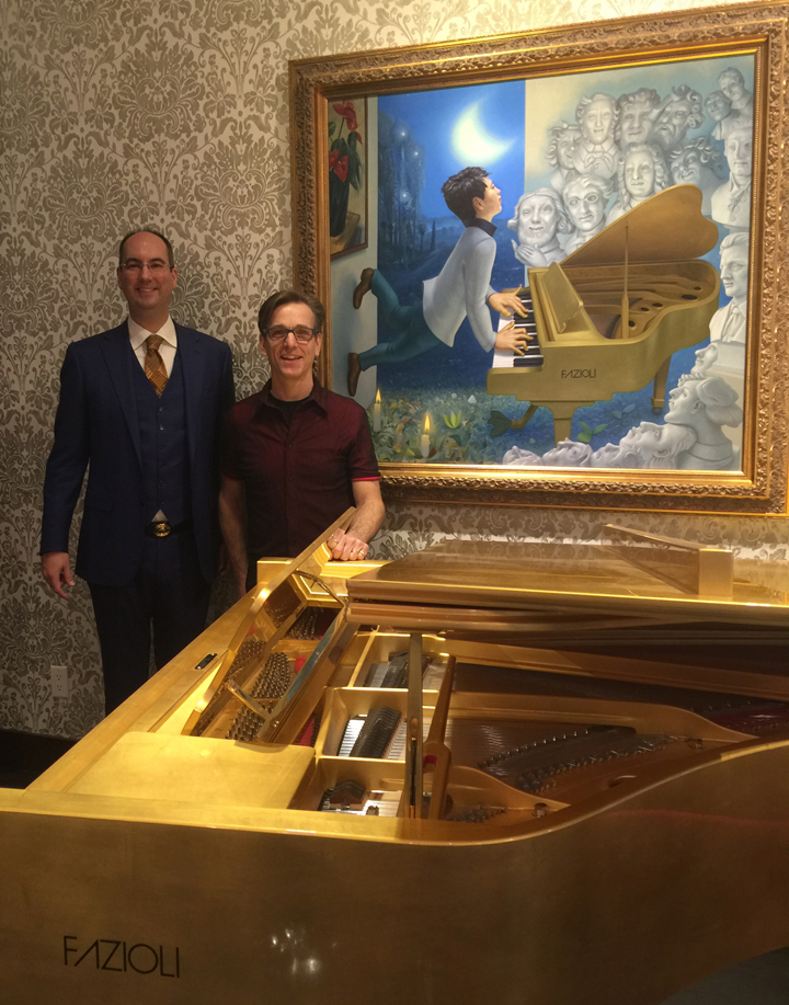 Manuel Bernaschek with Michael Abraham and gold leafed Fazioli piano