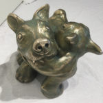 Bronze Sculpture 'Dog Eat Dog' by Michael Abraham