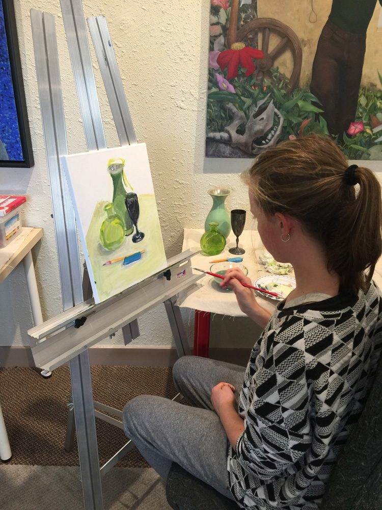Green Vase still life - painting classes for teens - Michael Abraham Studio Gallery