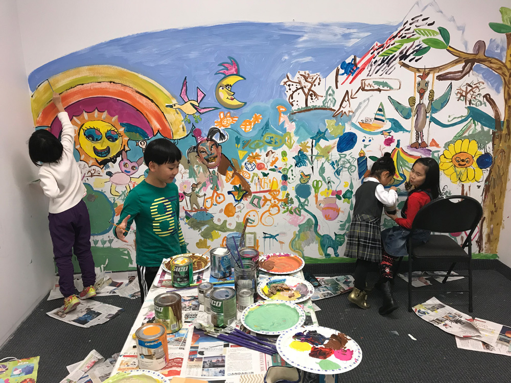 Kids Painting Wall Mural - Michael Abraham Studio Gallery Ladner BC