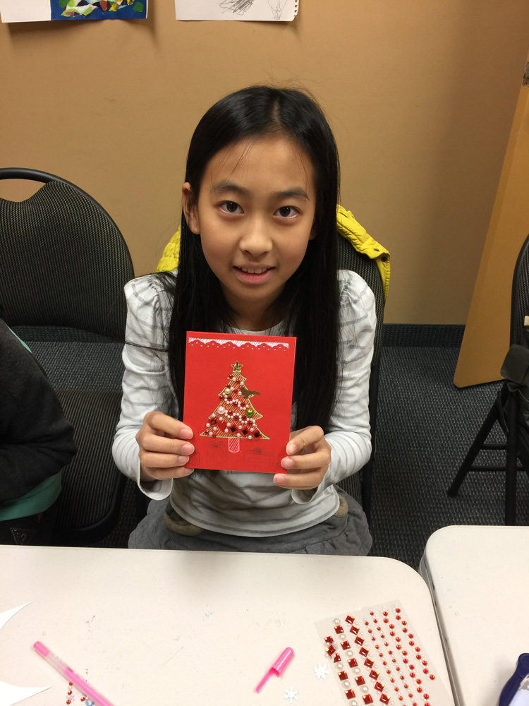 Christmas card craft day from art classes with Michael Abraham