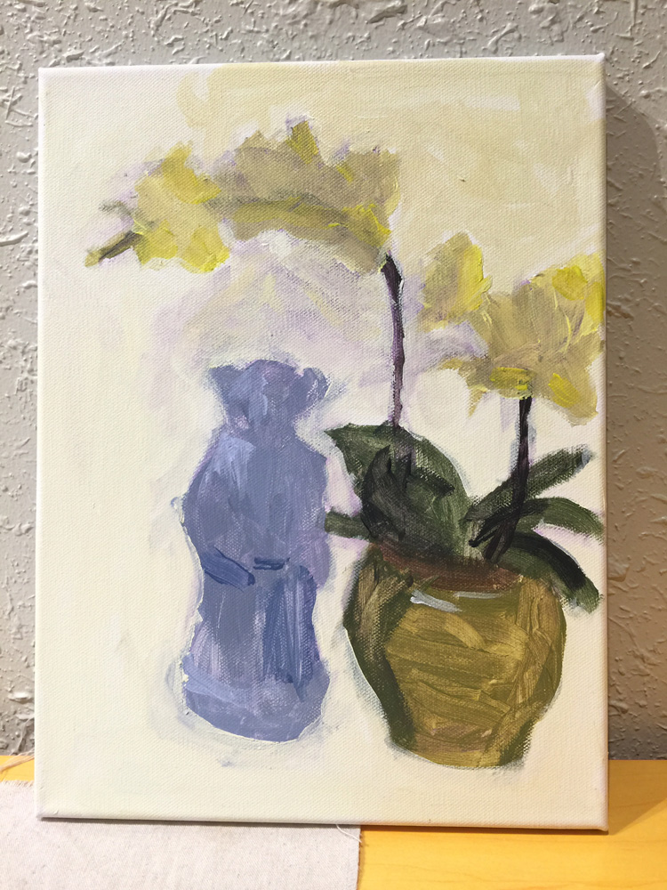 Childs painting of a still life vase from art classes with Michael Abraham