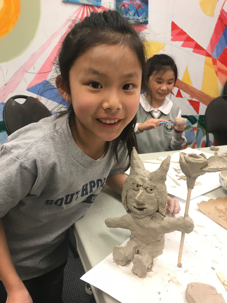 Clay Sculpture from kids art classes with Michael Abraham