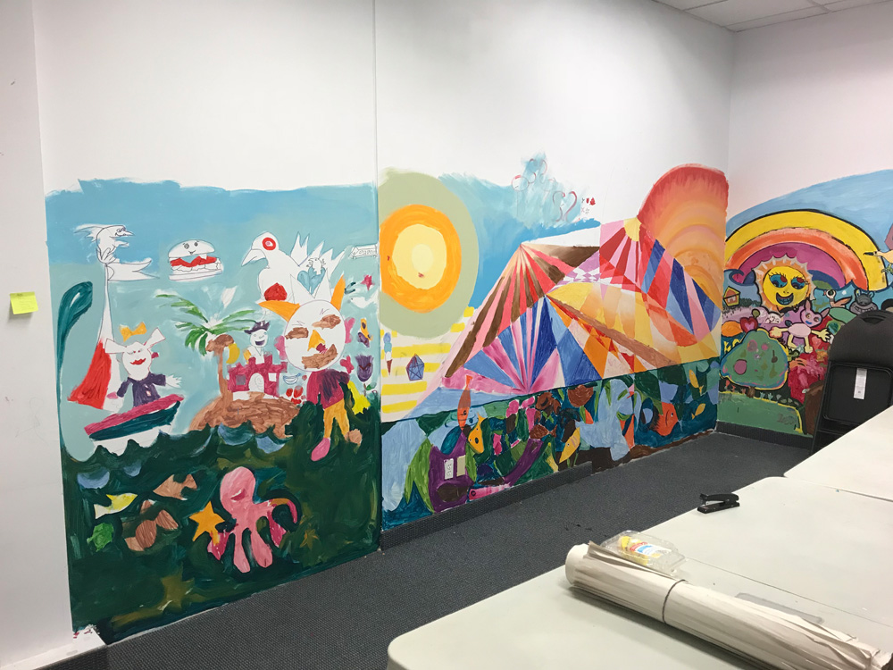 Wall Mural from kids art class with Michael Abraham