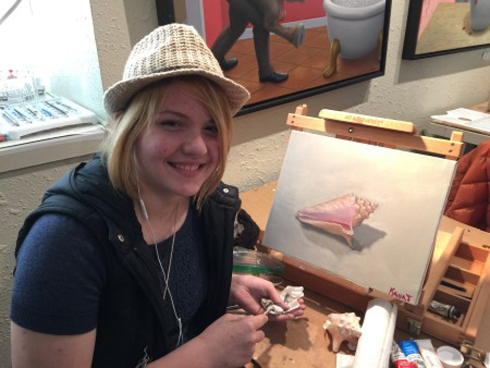 Pink Shell Still life - painting classes for teens - Michael Abraham Studio Gallery