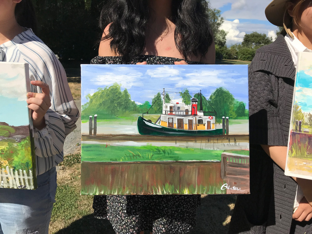 Boat on the River painting - art classes for teens - Michael Abraham Studio Gallery