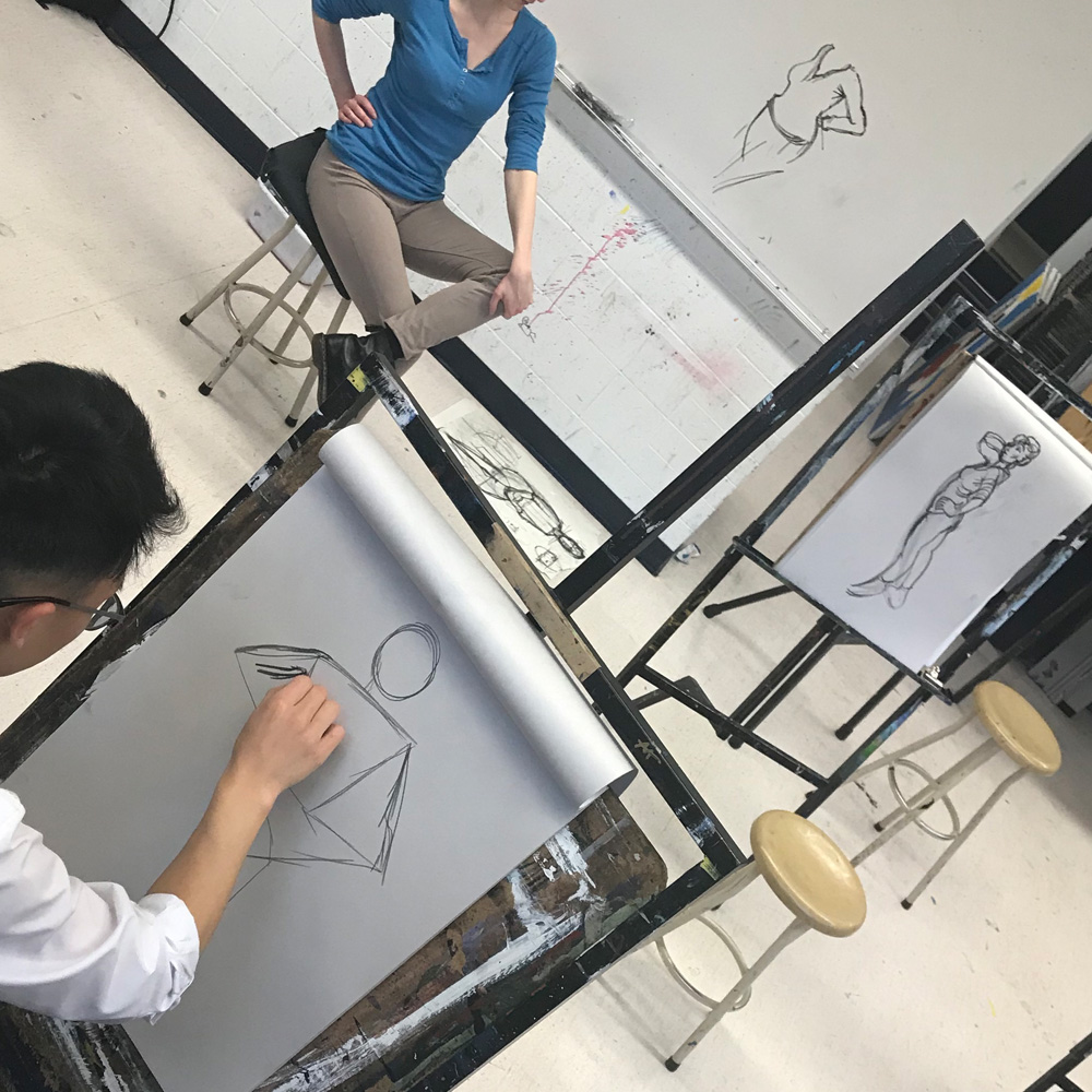 Classroom Life drawing from the model - art classes for teens - Michael Abraham Studio Gallery