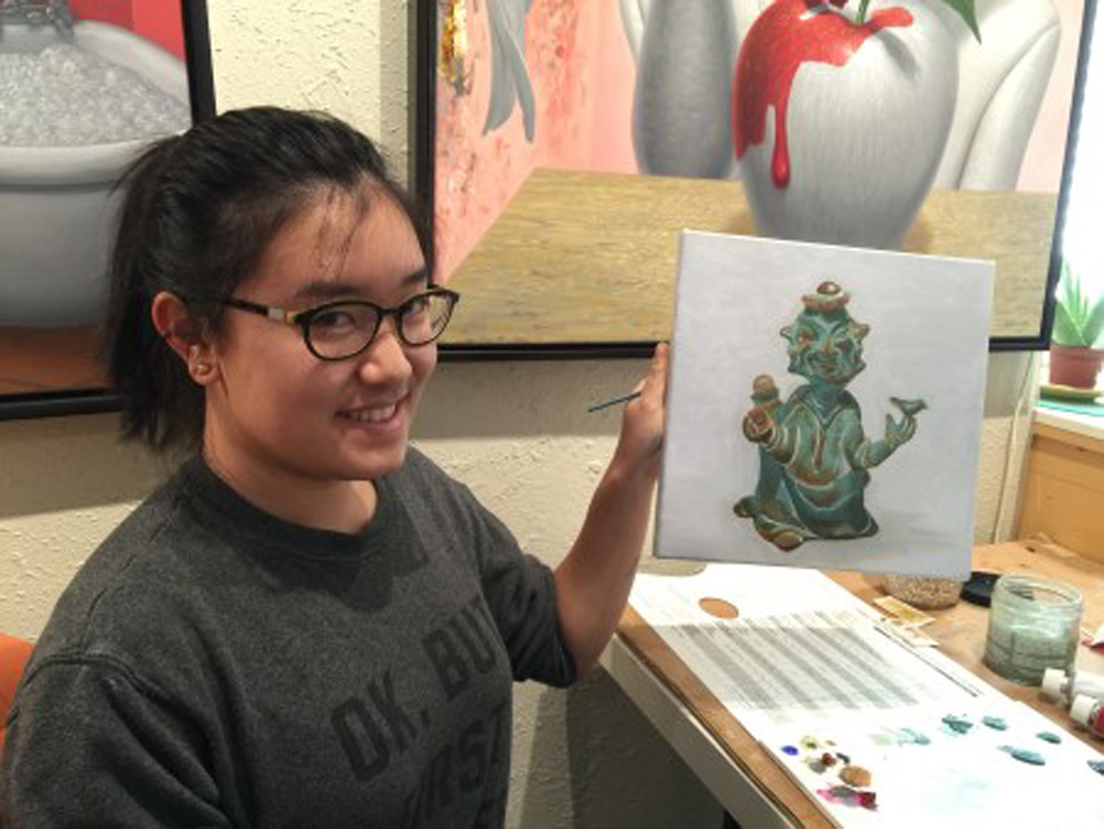 Green Statue Painting - painting classes for teens - Michael Abraham Studio Gallery
