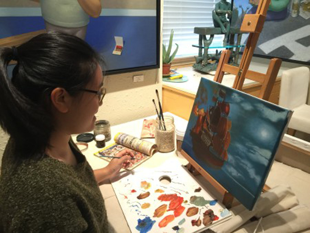 Blue cloudy sky painting - art classes for teens - Michael Abraham Studio Gallery