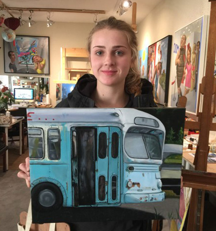 Painting of vintage bus - art classes for teens with Michael Abraham in Ladner, BC